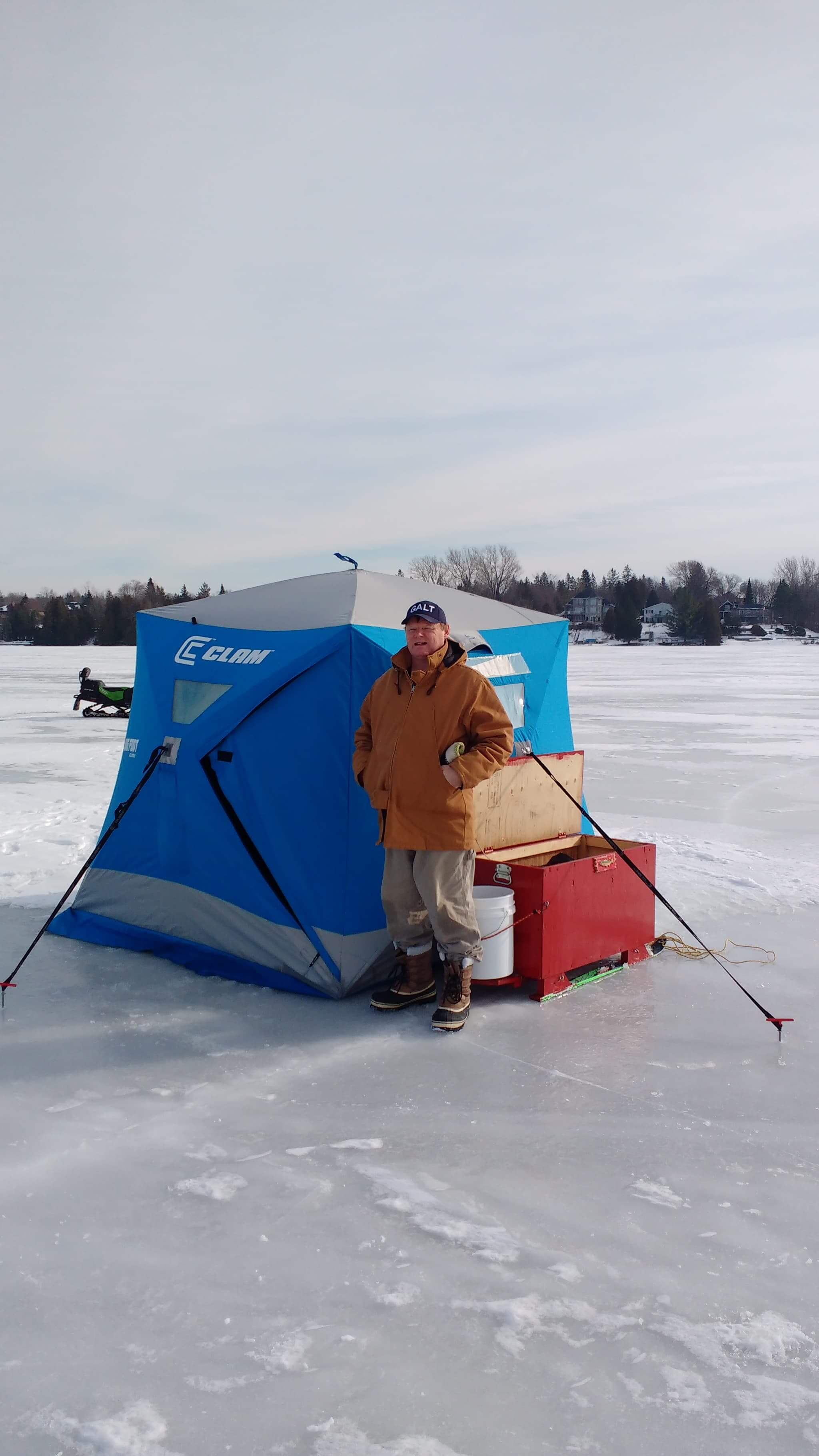 Ice shack, ice fishing in Canada, Lake Simcoe